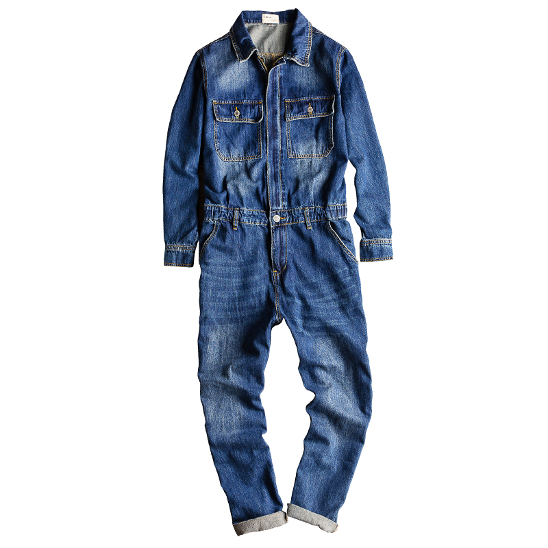 Japanese Retro Denim Jumpsuit Men's Casual Bibs Multi-pocket Small Leg Jumpsuit  Fashion Denim Suits Male Overalls