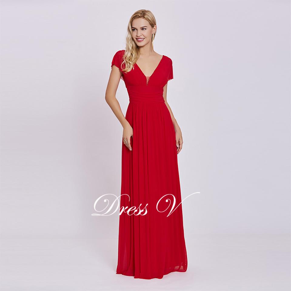 6cf3d6e332 Vestido de noche largo rojo vestido de noche con cuello en v mangas cortas  baratas línea empire boda fiesta vestido formal con cuentas