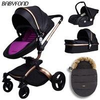 Бесплатная доставка! 0 3 babyfond 4 в 1 детская коляска Роскошная модная коляска EU коляска для лежа и сиденья получить бесплатный спальный мешок