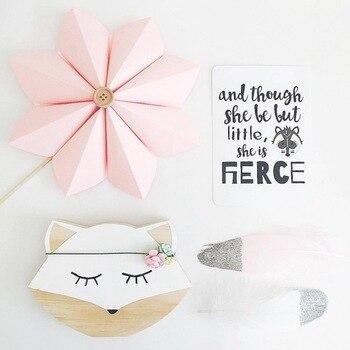 20*16 Cm Kayu Hewan White Fox Tanda Dinding Seni Decal untuk Bayi dan Anak-anak Kamar Dekorasi Desain Skandinavia gaya Fotografi Alat Peraga