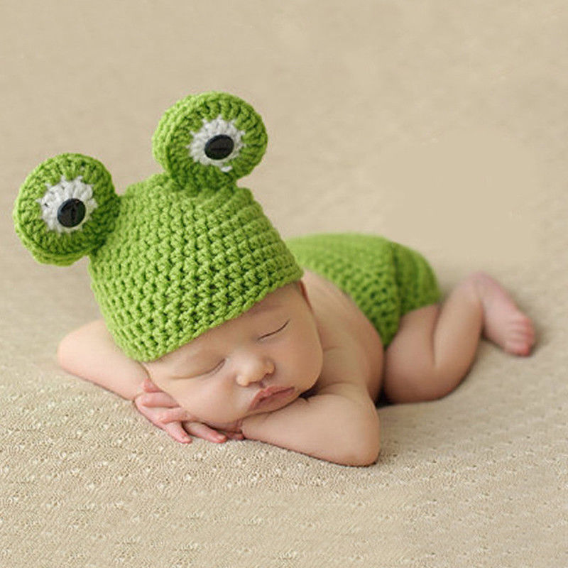New Hot Sale Cute Newborn Baby Boys Girls Unisex Knitted Wool Crochet Beanie Costume Hat Cute Lovely Cartoon Frog Beanies 2016 new baby unisex hat beanie with big bow infant girls and boys newborn hospital hat baby accessories