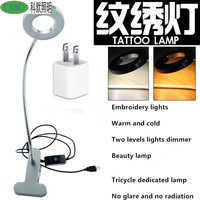 Portable USB Permanent Makeup Eyebrow Tattoo Brightness Led Desk Lamp Warm/Pure White With Metal Clamp and soft rod Beauty Salon