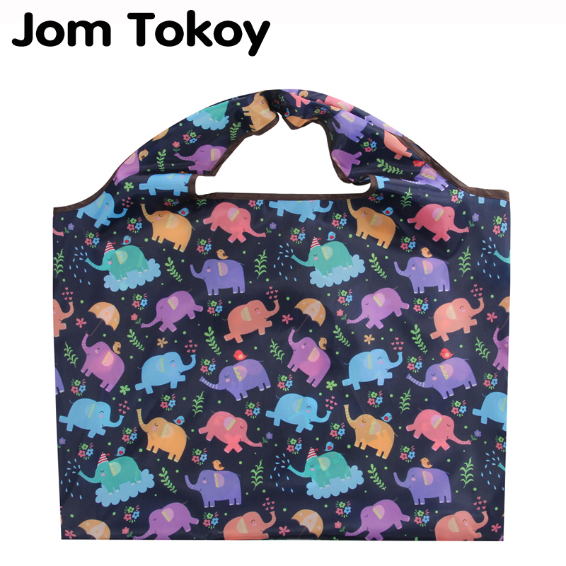 Jomtokoy Elephant Print New Shopping Bag Lady Foldable Oxford Cloth Reusable Fruit Grocery Pouch Recycle Organization Bag