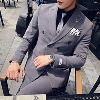 ( Jacket + Pants ) Fashion Stripe Men's Formal Business Double breasted Suit Set / Mens Suits With Pants Men Suits For Wedding