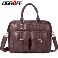 OGRAFF Men Bag Handbag Genuine Leather Briefcases Shoulder Bags Laptop Tote Bag Men Crossbody Messenger Bags