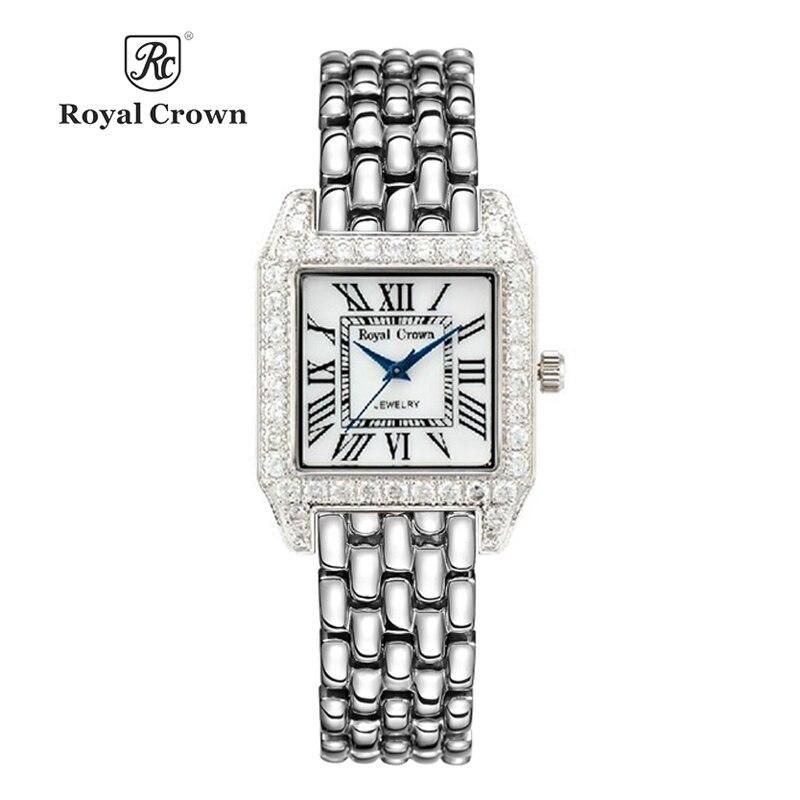 Pani zegarek damski japonia zegarek kwarcowy moda dzieła sukienka bransoletę ze stali nierdzewnej ekskluzywny zegarek prezent urodzinowy dla niej Royal Crown w Zegarki damskie od Zegarki na  Grupa 1
