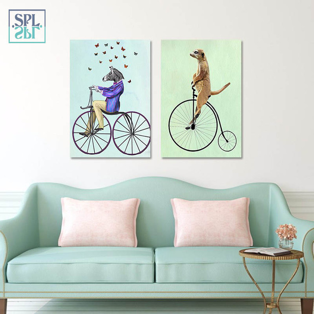 SPLSPL Frameless Home Decoration Picture Animals Cycling Wall Art ...
