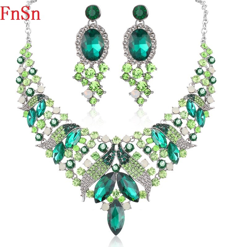 Fnsn Hot New Jewelry Sets High Quality Crystal Choker Necklace set Colorful Rhinestone Wedding Gift Women Brides Prom Party S128 shiny rhinestone crystal choker jewelry set