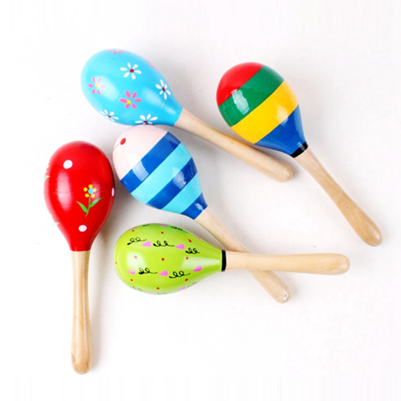 5pcsset Baby Sand Hammer For Kids Baby Toys Tambourine Wooden