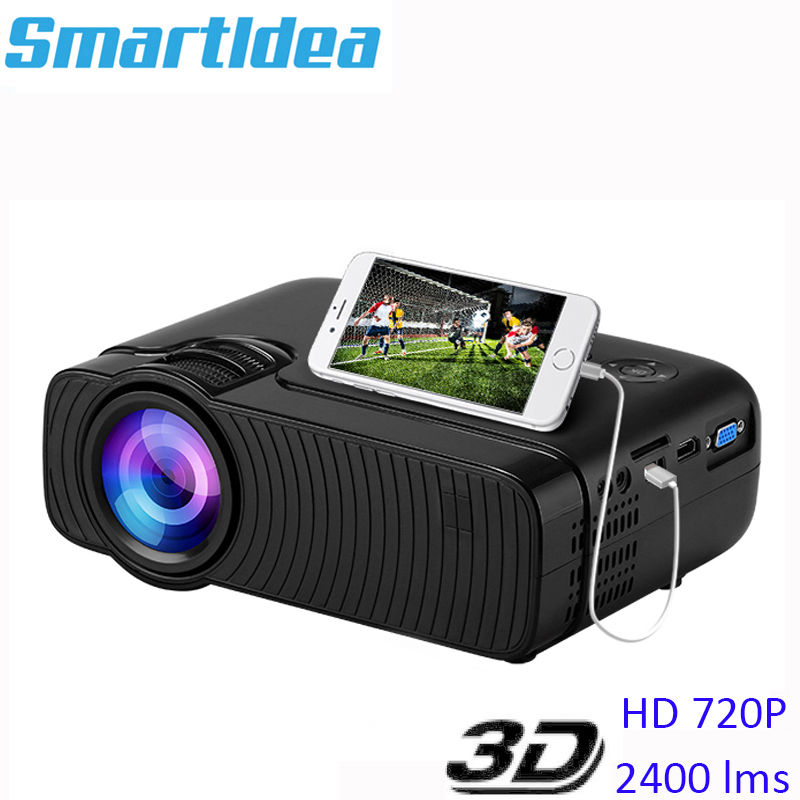 Smartldea AC3 HD 720P Mini Projector Wired Sync display Optional Support 1280x800 2400lumens Multimedia LED 3D