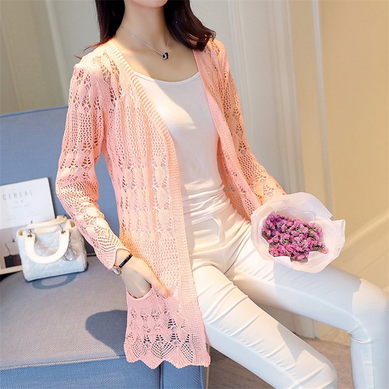 2019 Summer Knitted Cardigan Loose Shawl Hollow Long Sleeve Women Casual Sweater Female Cardigans Outerwear Top R605