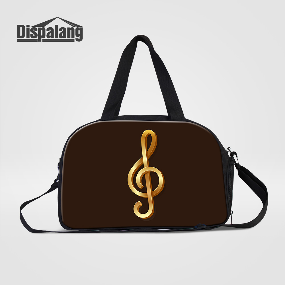 Dispalang Women's Canvas Travel Bags Musical Note Printing Hand Luggage Duffle Bag With Shoes Pocket Cartoon Weekend Bags Duffel