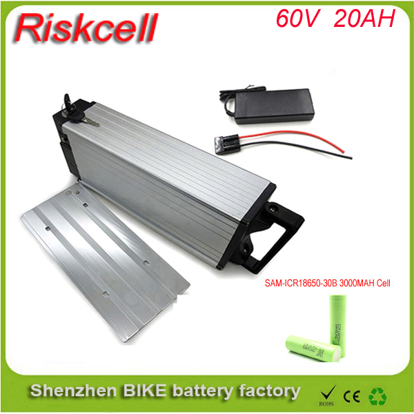 60v lithium ion battery / electric bike battery 60v 20ah /lithium ion battery pack 60v 20ah with rear rack case For Samsung cell ebike 1000w lithium battery 48v 20 ah aluminium case rear rack bike electric bicycle lithium battery for samsung pack