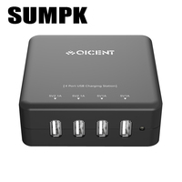 4 Port 30Watt USB Desktop Super Charger USB Travel Charger With Detachable Power Cable For IPhone