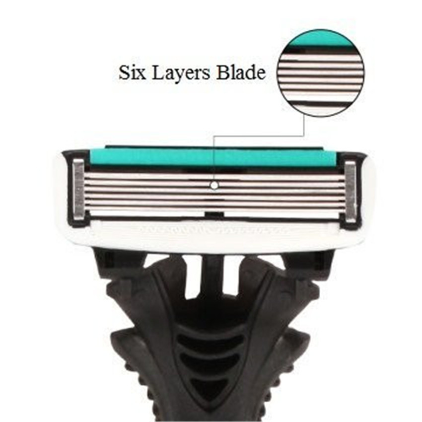 Original Men's Razor Blade 6 Layer Shaver Travel Manual Shaving Razors Machine with Original Handle Safety Razor 2