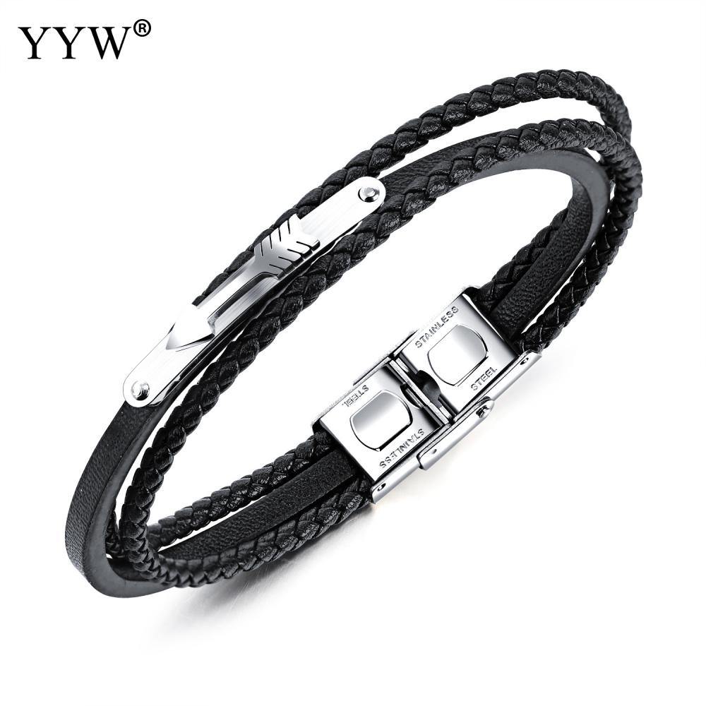 2018 New Bracelet Men Punk Style Stainless Steel Black Color Leather Bracelet for Men Jewelry Braid Chain Beads Male Accessories