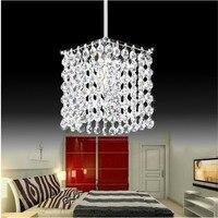 Modern LED Crystal Chandelier Rectangle Stainless Steel Pendant Lamp Luster Light Restaurant Droplight E14 Lamp
