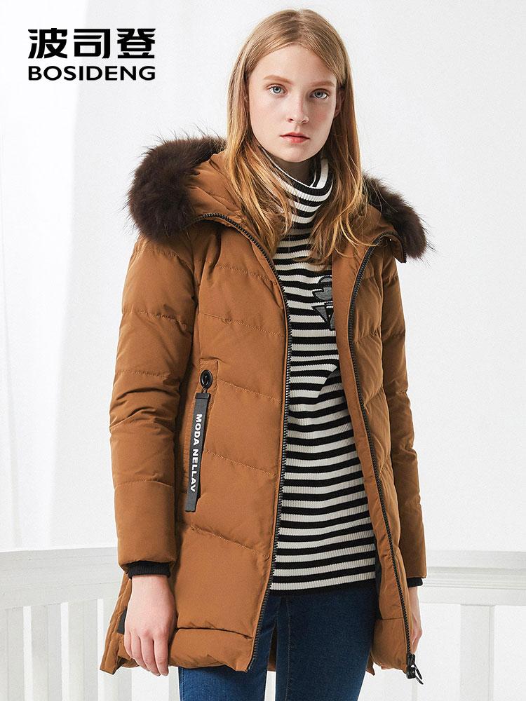 BOSIDENG women down coat winter thick down jacket mid long real fur collar thick parka ribbons