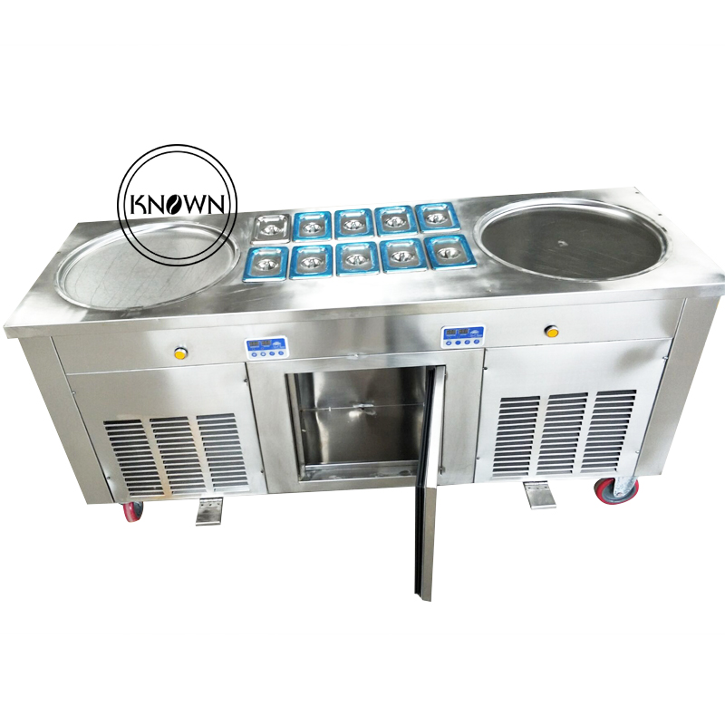 air cooling hot sale in American commercial fried ice cream machine with double round panair cooling hot sale in American commercial fried ice cream machine with double round pan