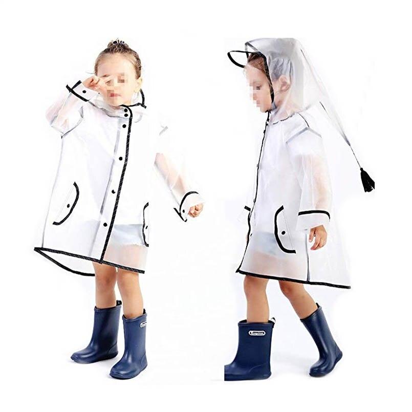 wholesale custom good quality fashion kids half transparent clear plastic raincoats