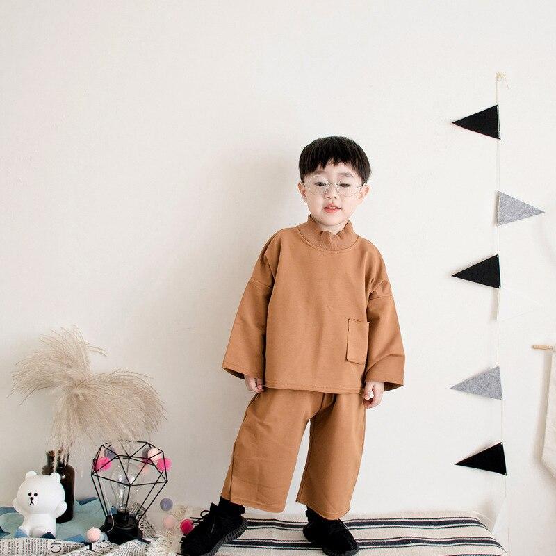 Комплект из двух предметов для маленьких мальчиков одежда костюм детская одежда Обувь для мальчиков свободные спортивные толстовка брюк д...