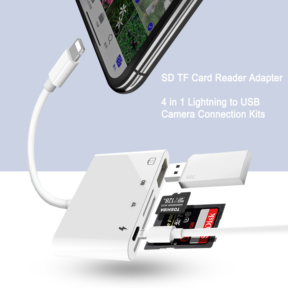 2019 New For Lightning To USB 3 Camera Reader OTG Adapter Connection Kits Data Sync Charge For iPhone X/8/7/7Plus/6/6S iPad/iPod