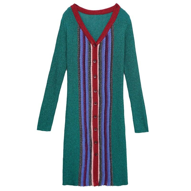 Micosoni <font><b>High</b></font> <font><b>Quality</b></font> 2017 Autumn New Long Sleeved Knitted <font><b>Green</b></font> <font><b>Red</b></font> <font><b>Blue</b></font> Black <font><b>Purple</b></font> Stripes Elegance V-collar Dress Female