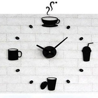 Acrylic crystal fashion coffee cup wall clock