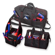 WORKPRO Durable Tool Bag Combo 2PC Handbags 1PC Shoulder 8 12 19 Waterproof Electrician Bags 600D Polyester 3PCS/Lot