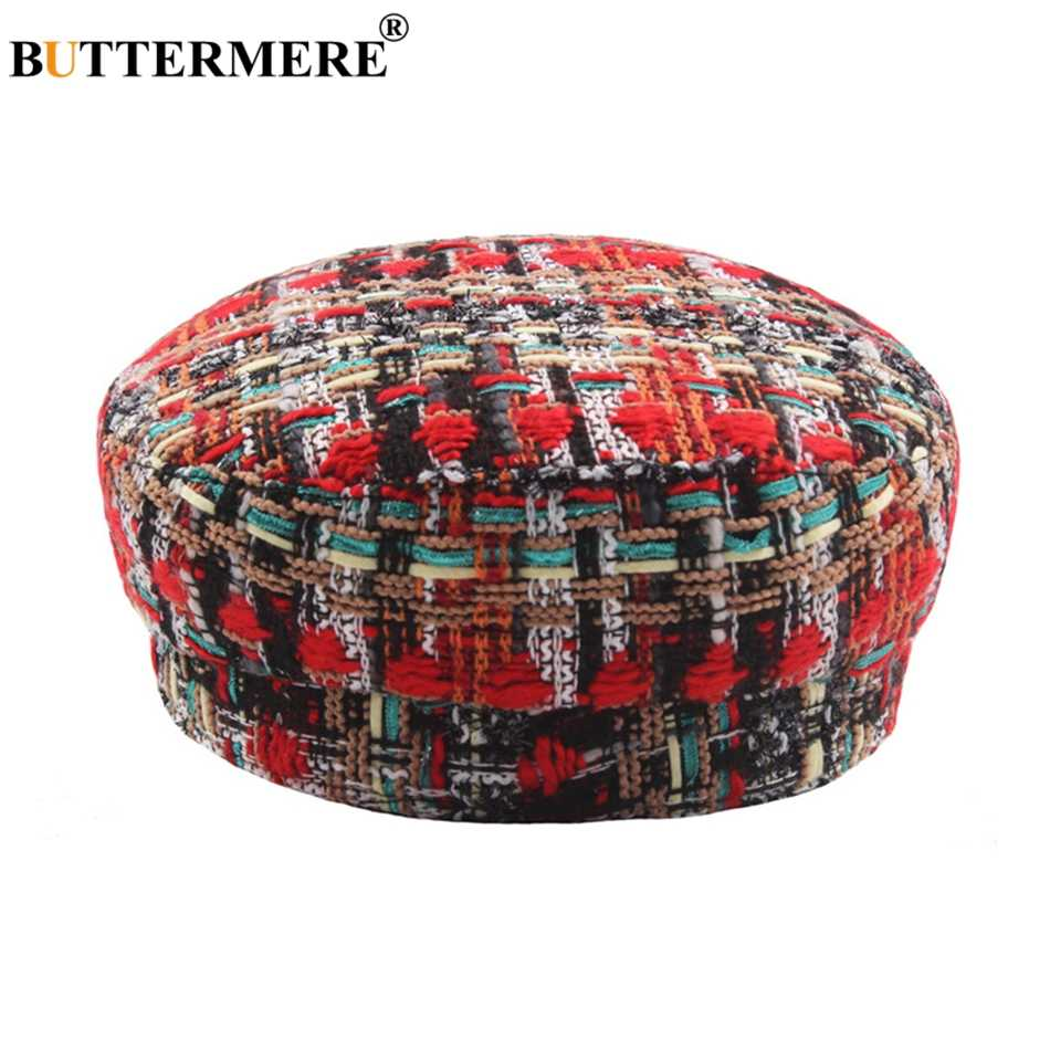 بوترمير قبعة عسكرية النساء Knniting خليط الكابتن قبعة الموضة الملونة الإناث قبعة مسطحة السيدات الخريف الشتاء الجيش قبعات الأحمر