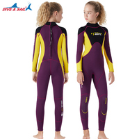 Youth Kids Wetsuit Premium 2.5mm Neoprene Long Sleeve Youth Full Wetsuit Scuba Diving Surf Suit Thermal for Girls Boys Child