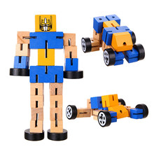 1pc 3D Wooden Transformation Robot Building Blocks Kids Montessori Educational Toys for Children Grownups Funny Antistress Games(China)