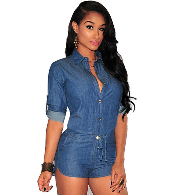 7641b1185a4a Scolour 2016 New Fashion Summer Women Sexy Denim Romper Middle Sleeve  Bodysuit Ladies Shorts Overalls Casual Playsuit