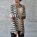 Новая Осень Зима Верхняя Одежда 2017 Женщины Повседневная Трикотажные Полосатый Пальто Кардиган Куртки Мода Куртки Mujer Верхняя Одежда Плюс Размер