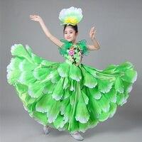 Girls Spanish Dancer Costumes Sexy Flamenco Dancing dress Outfits Performance Flowers Ballroom Dance Dress 360 Degrees
