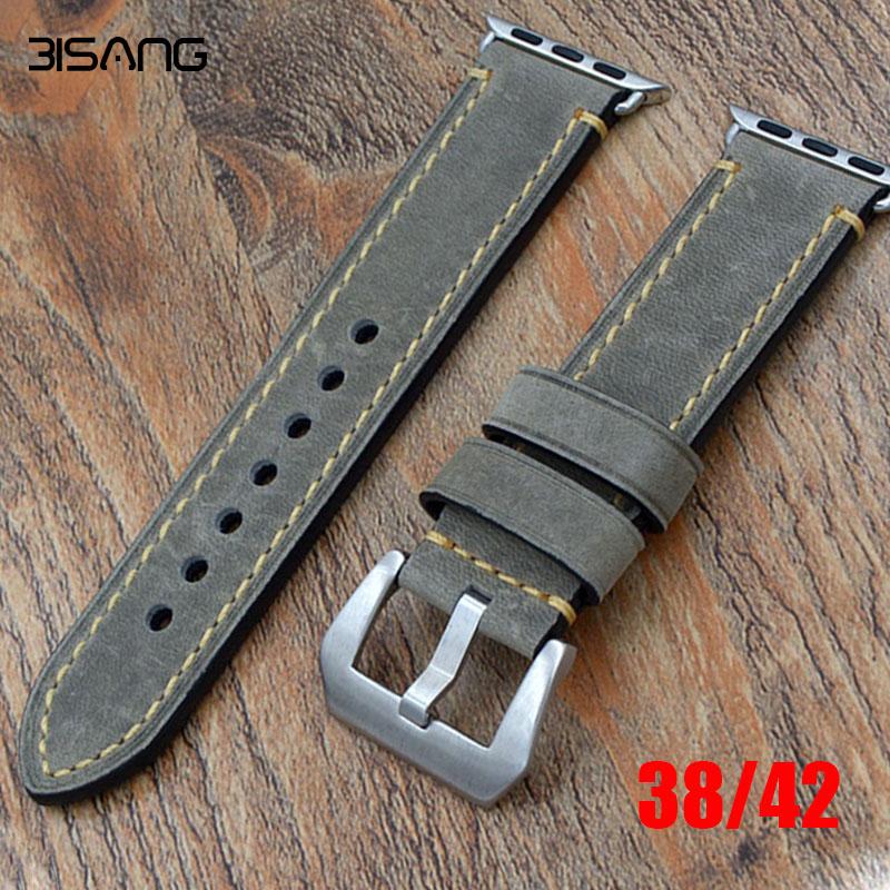 Prix pour Véritable Assolutamente Bracelet En Cuir À La Main Rembourré Bande Bracelet pour Iwatch Apple Watch bande 38mm 42mm