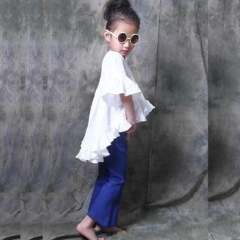2018 new girl wide leg blue jeans kids summer autumn fashion pants fashion jean soft  girls pants retail CCS 146 1