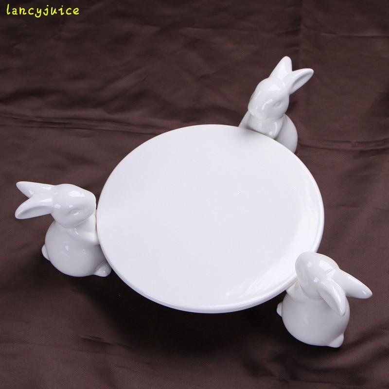 Creative Ceramics Rabbit Cake Plate Stand Decorative