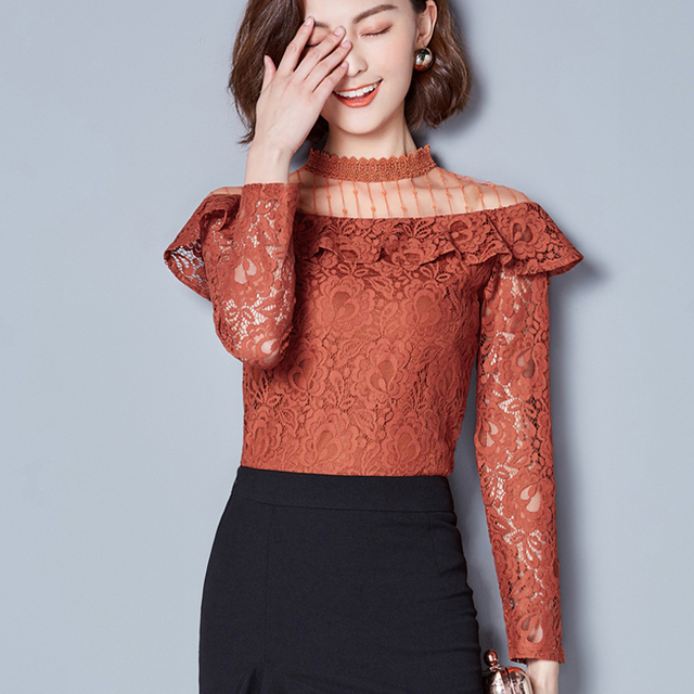New Hollow Out 2020 New V-neck Female Blouses shirt Casual black shirt tops Sexy Long sleeve Women Lace blouses blusa 661F 1