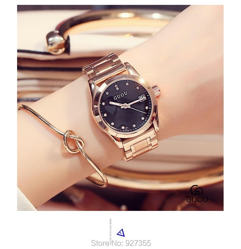 2019 New GUOU Luxury Watch Women Men Lover 39 s Quartz Watch Fashion Reloj mujer Ladies Watches Women Waterproof relogio masculino in Women 39 s Watches from Watches