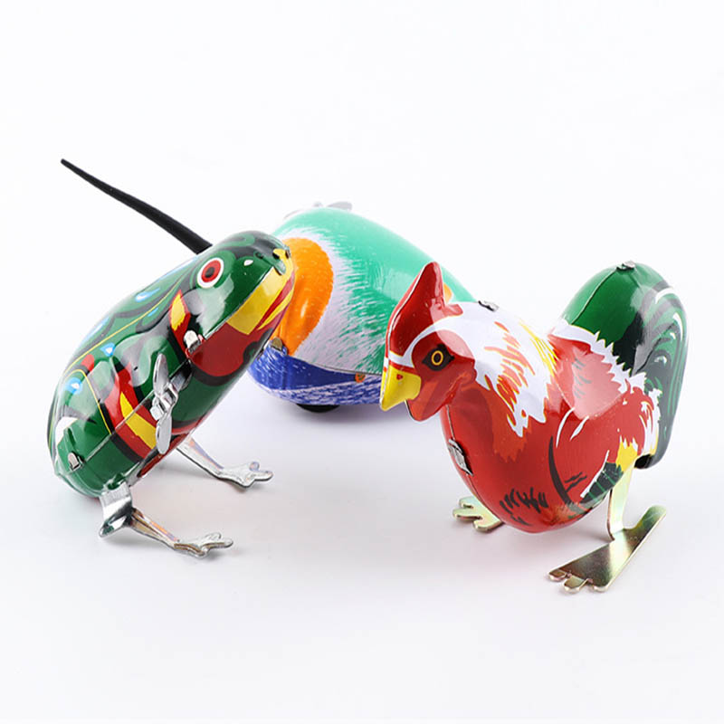 Hot Children's Classic Tin Clockwork Toy Jump Frog Old Hen Mouse Children's Classic Building Block Toy Boy Education Jm79