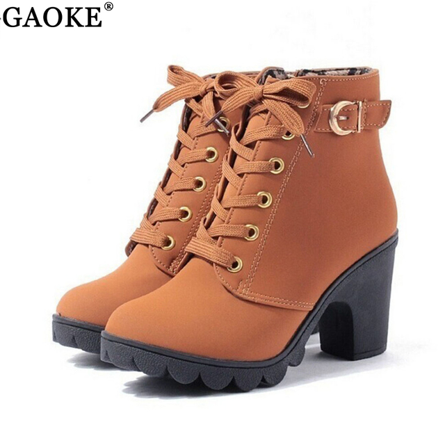 28e551512 2018 Nova Outono Inverno Mulheres Botas de Alta Qualidade Sólidos Lace-up  Senhoras Europeus sapatos