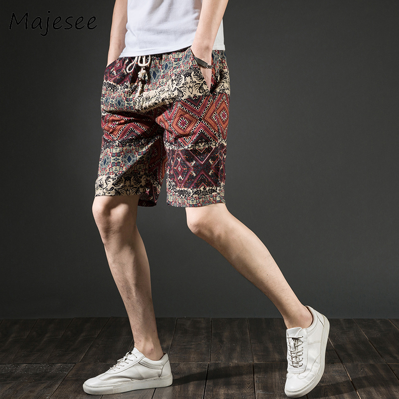 Summer Beach Plus Size Men   Board     Short   Fashion Mens   Shorts   Patchwork Male Chic Printing Thin Breathable Linen Loose New Trendy