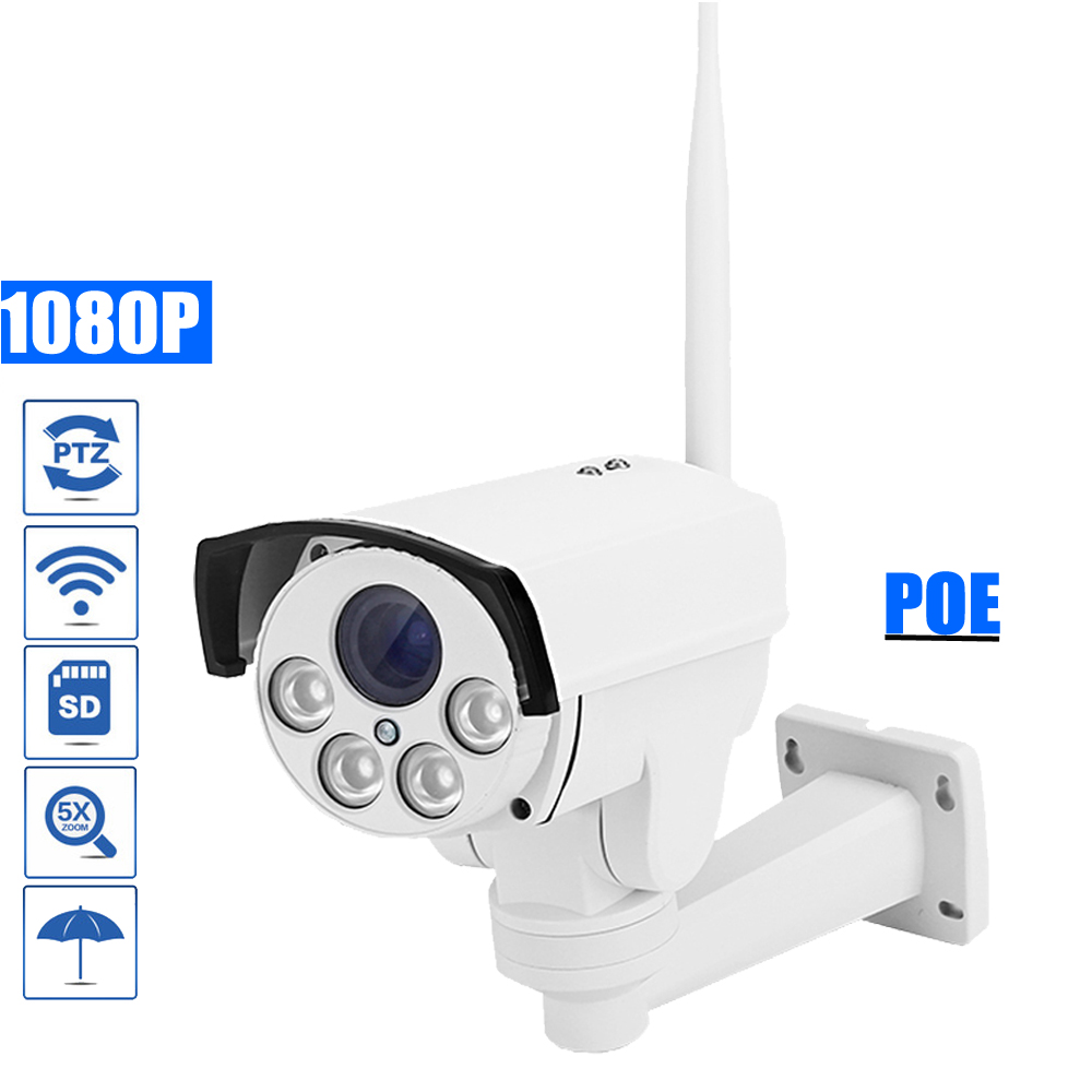 OwlCat SONY323 HD 1080P POE Bullet PTZ IP Camera WIFI Outdoor 5X Zoom Wifi Camera 2MP Security CCTV Camera IR Onvif SD Card Slot wireless cctv ip camera 1080p hd sony cmos megapixel 2mp wifi security outdoor ir onvif surveillance camera system 8gb sd card