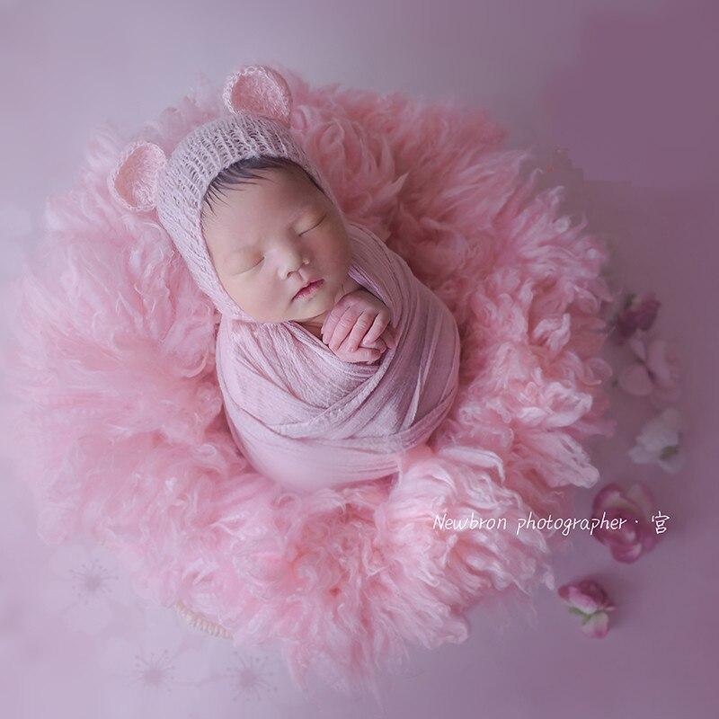 Newborn Photography Blanket Props 50cm Handmade Australian Wool Banket  Flokati Newborn Studio Shooting Props Baby Fotografia