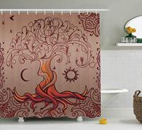 Cortina de chuveiro étnico  árvore da vida vintage com sol e lua elfo em ramos universo encantado imagem decoração do banheiro