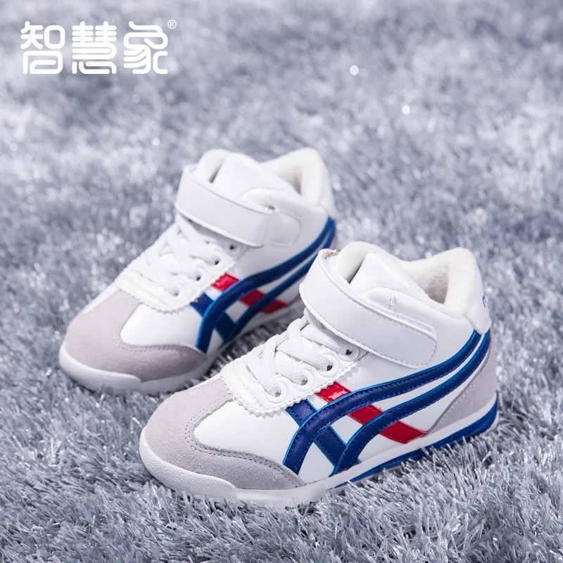2016 brand designer fashion warm flock leather high school children boys ankle boots kids tenis shoes boy Winter sport sneakers babyfeet 2017 winter children shoes fashion warm suede leather sport running school tenis girl infant boys sneakers flat loafers