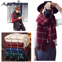 Scarf for Women & Man Plaid Fashion 2018 Women Winter Black Warm Scarves Shawls Stoles Blanket Mujer Scarf For Lover Gift