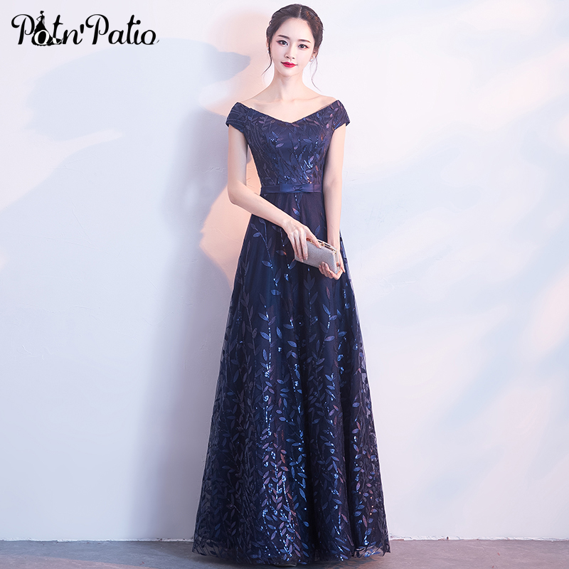 V-neck Off The Shoulder Navy Blue Long   Bridesmaid     Dresses   2018 New A-line Floor-length Leaf Sequined Wedding Guest   Dresses