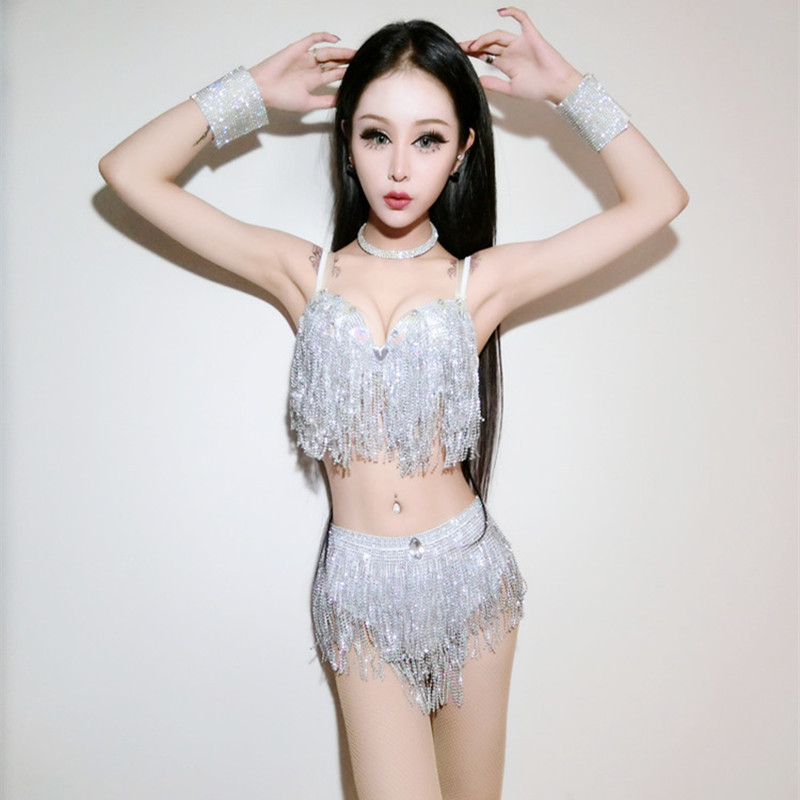 New Nightclub Zangeresje DJ Performance Costumes DS Stage Jazz Dance Dress Sexy Tassel Sequin kostuum zilver